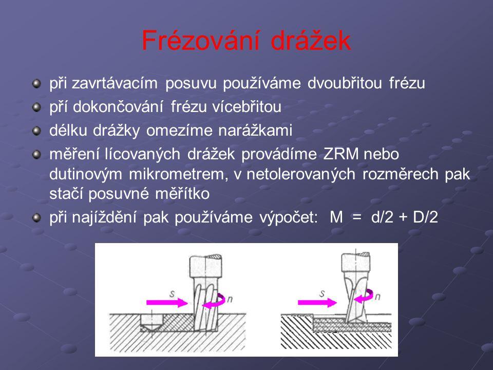Frézování drážek při zavrtávacím posuvu používáme dvoubřitou frézu