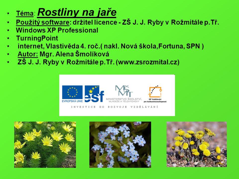 Téma: Rostliny na jaře Použitý software: držitel licence - ZŠ J. J. Ryby v Rožmitále p.Tř. Windows XP Professional.
