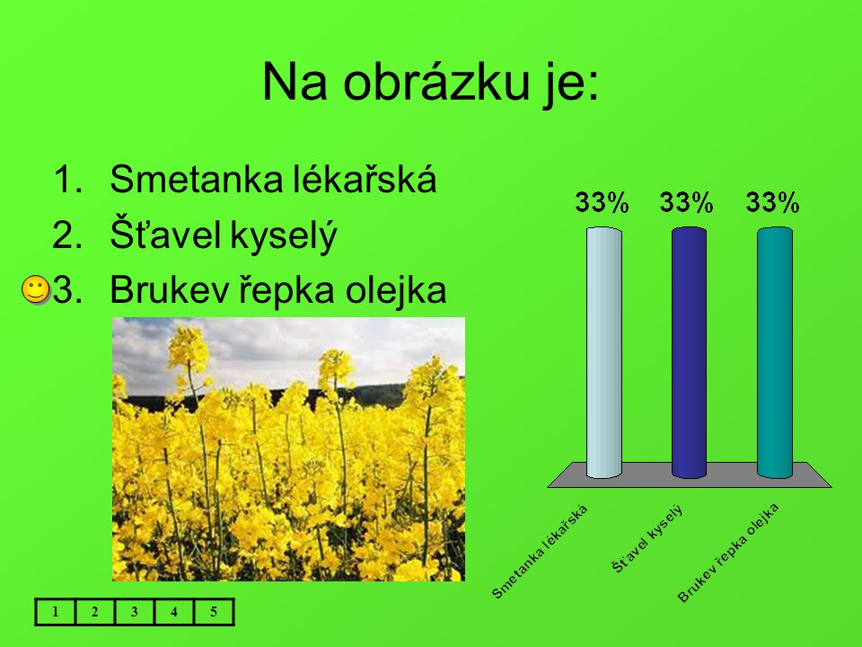 Na obrázku je: Smetanka lékařská Šťavel kyselý Brukev řepka olejka 1 2