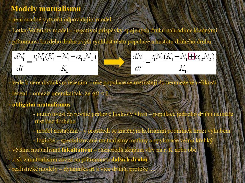 Modely mutualismu není snadné vytvořit odpovídající model