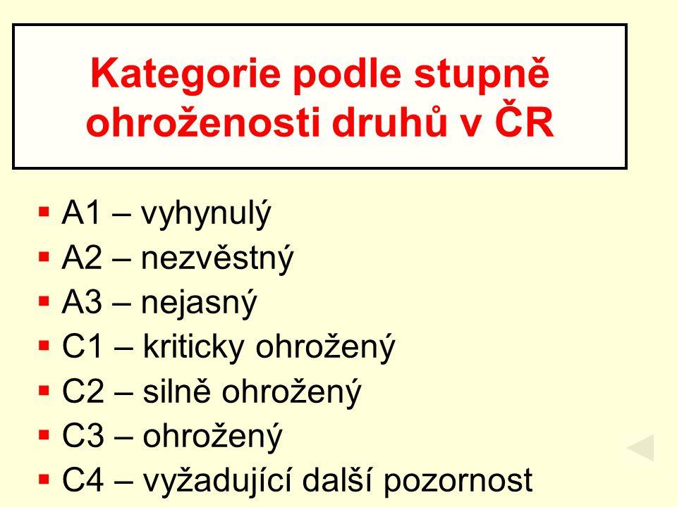 Kategorie podle stupně ohroženosti druhů v ČR