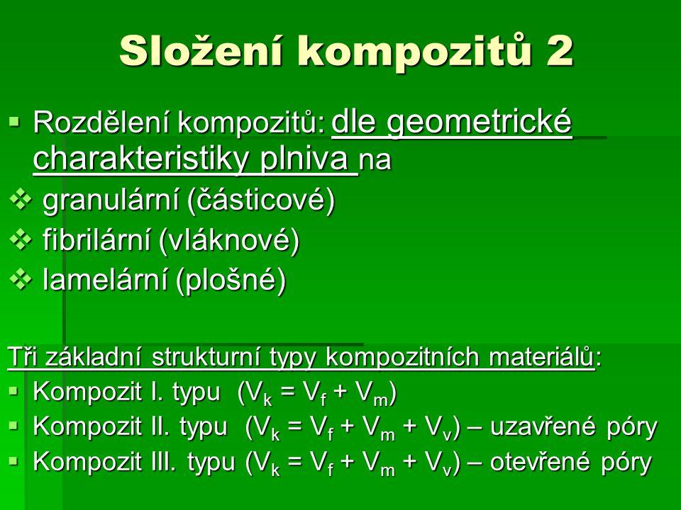 Složení kompozitů 2 Rozdělení kompozitů: dle geometrické charakteristiky plniva na. granulární (částicové)