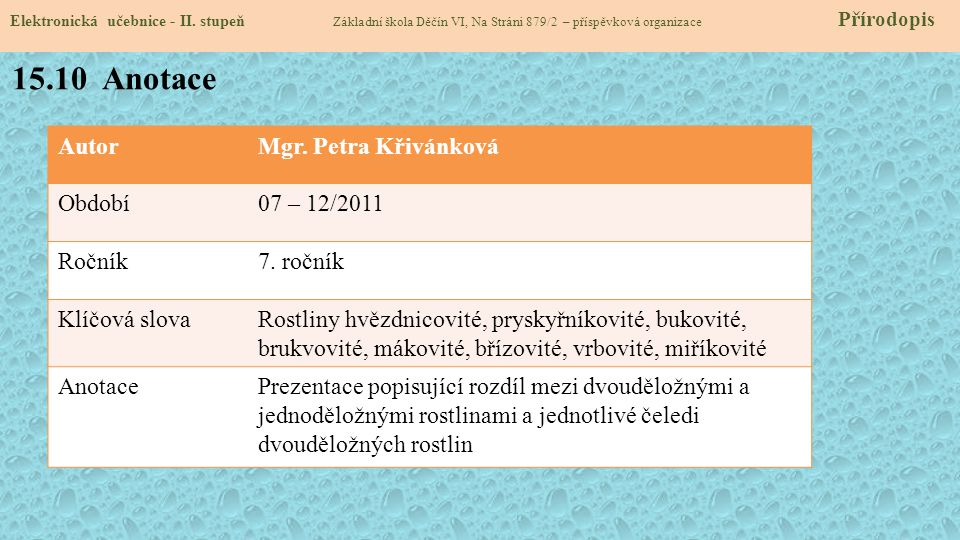 15.10 Anotace Autor Mgr. Petra Křivánková Období 07 – 12/2011 Ročník