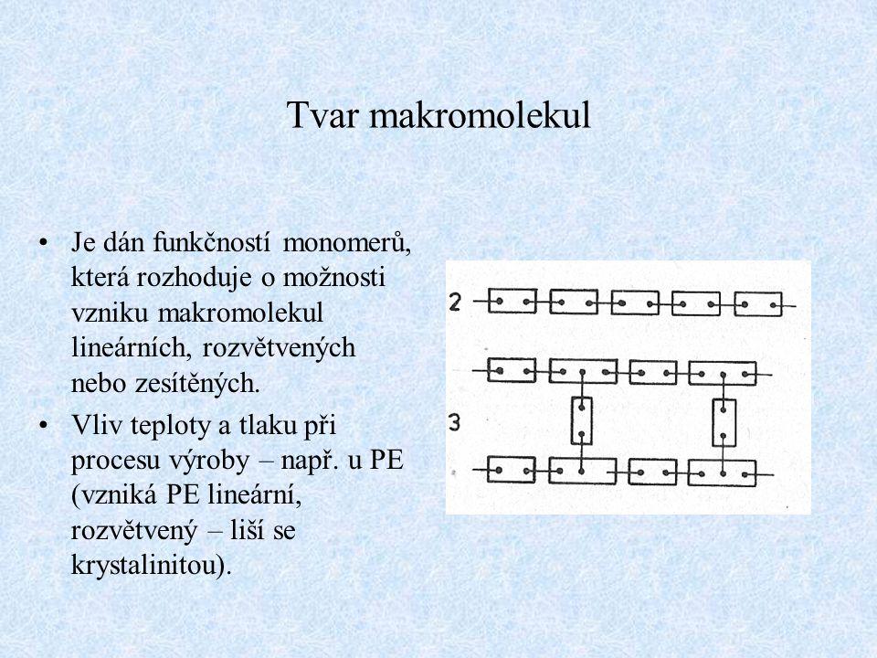 Tvar makromolekul Je dán funkčností monomerů, která rozhoduje o možnosti vzniku makromolekul lineárních, rozvětvených nebo zesítěných.
