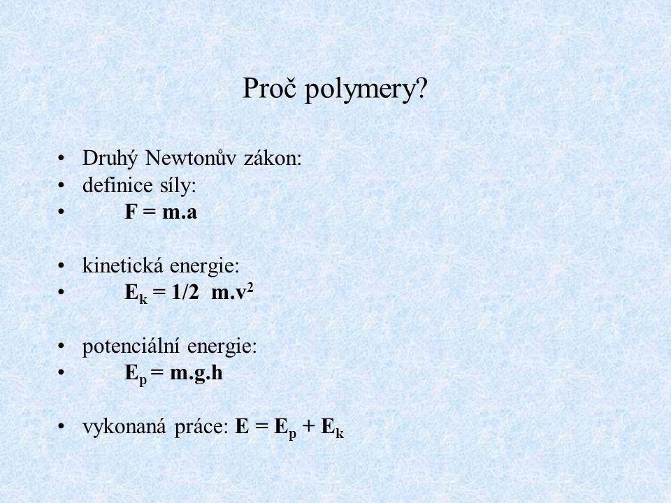 Proč polymery Druhý Newtonův zákon: definice síly: F = m.a