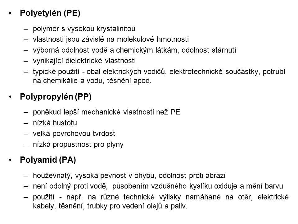 Polyetylén (PE) Polypropylén (PP) Polyamid (PA)