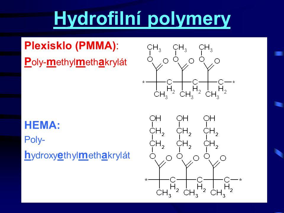 Hydrofilní polymery Plexisklo (PMMA): Poly-methylmethakrylát HEMA: