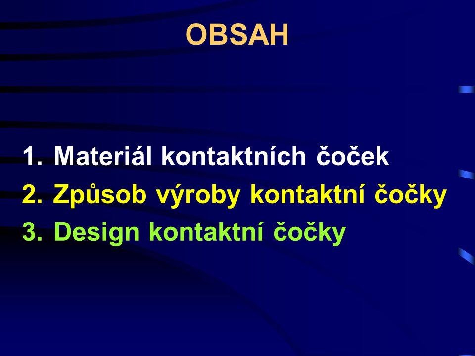 OBSAH Materiál kontaktních čoček Způsob výroby kontaktní čočky
