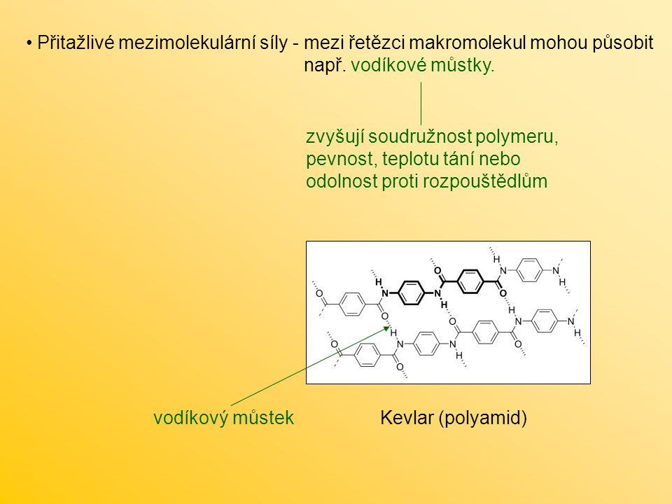 Přitažlivé mezimolekulární síly - mezi řetězci makromolekul mohou působit např. vodíkové můstky.