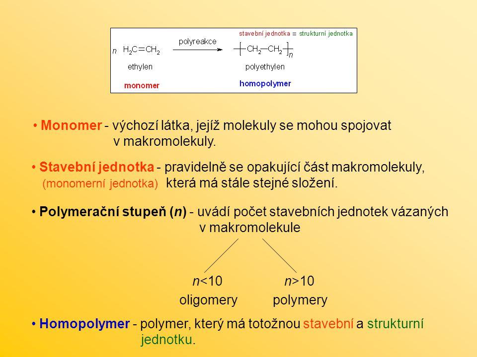 Monomer - výchozí látka, jejíž molekuly se mohou spojovat