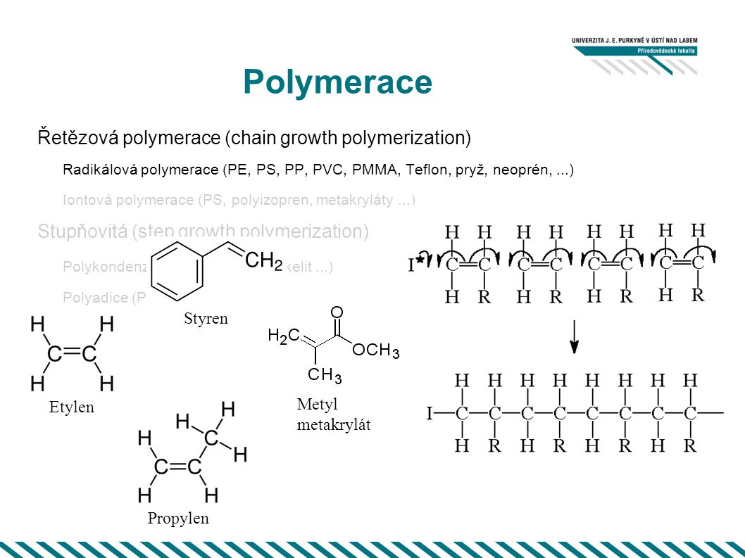Polymerace Řetězová polymerace (chain growth polymerization)