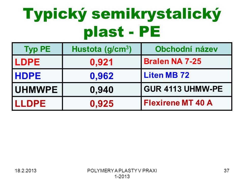 Typický semikrystalický plast - PE