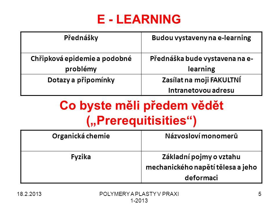 """E - LEARNING Co byste měli předem vědět (""""Prerequitisities )"""