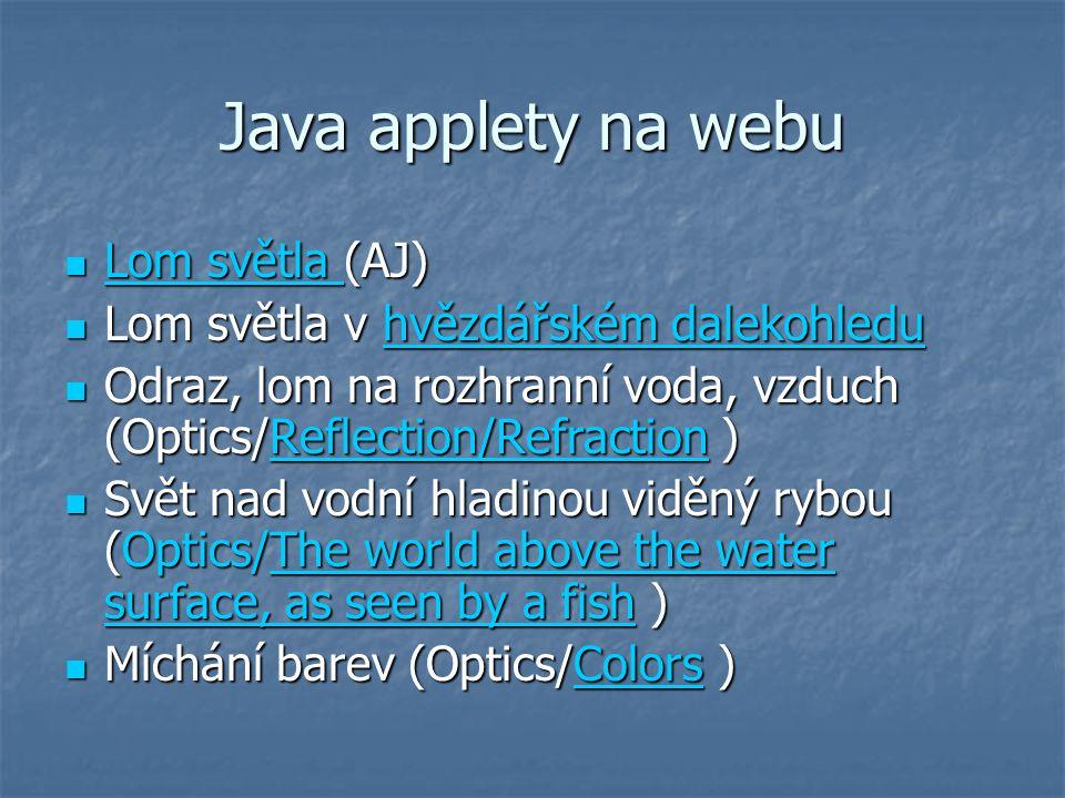 Java applety na webu Lom světla (AJ)