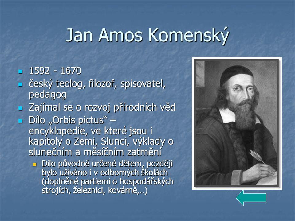 Jan Amos Komenský 1592 - 1670. český teolog, filozof, spisovatel, pedagog. Zajímal se o rozvoj přírodních věd.