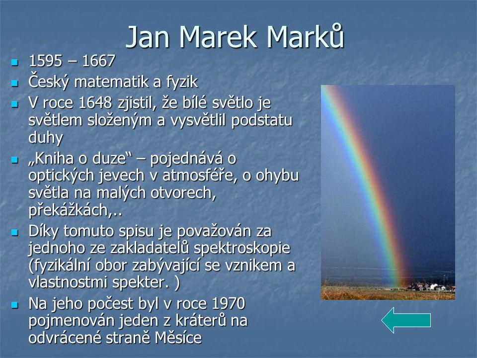 Jan Marek Marků 1595 – 1667 Český matematik a fyzik