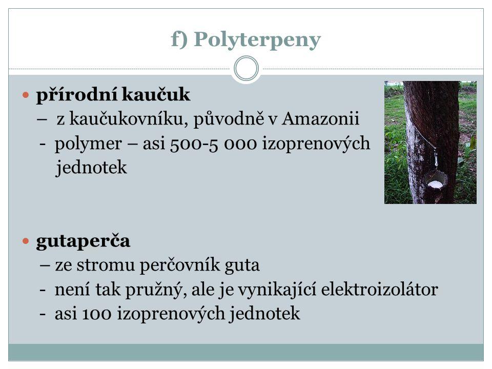 f) Polyterpeny přírodní kaučuk – z kaučukovníku, původně v Amazonii