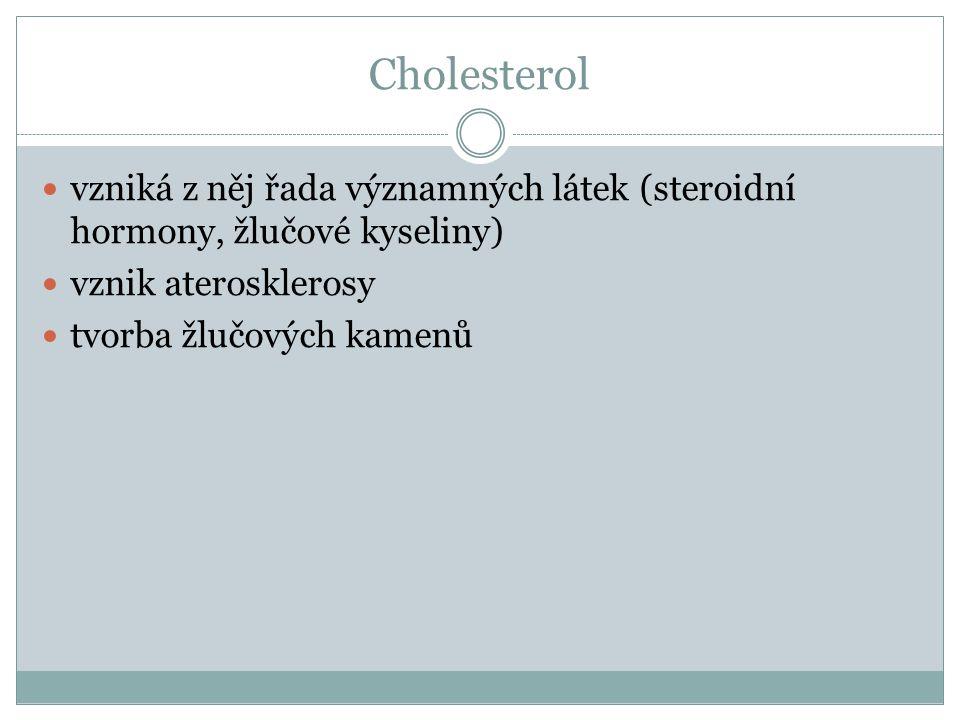 Cholesterol vzniká z něj řada významných látek (steroidní hormony, žlučové kyseliny) vznik aterosklerosy.