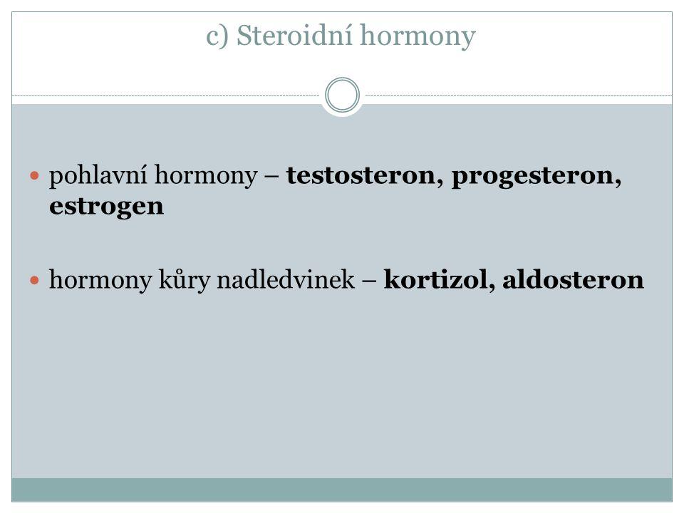 c) Steroidní hormony pohlavní hormony – testosteron, progesteron, estrogen. hormony kůry nadledvinek – kortizol, aldosteron.