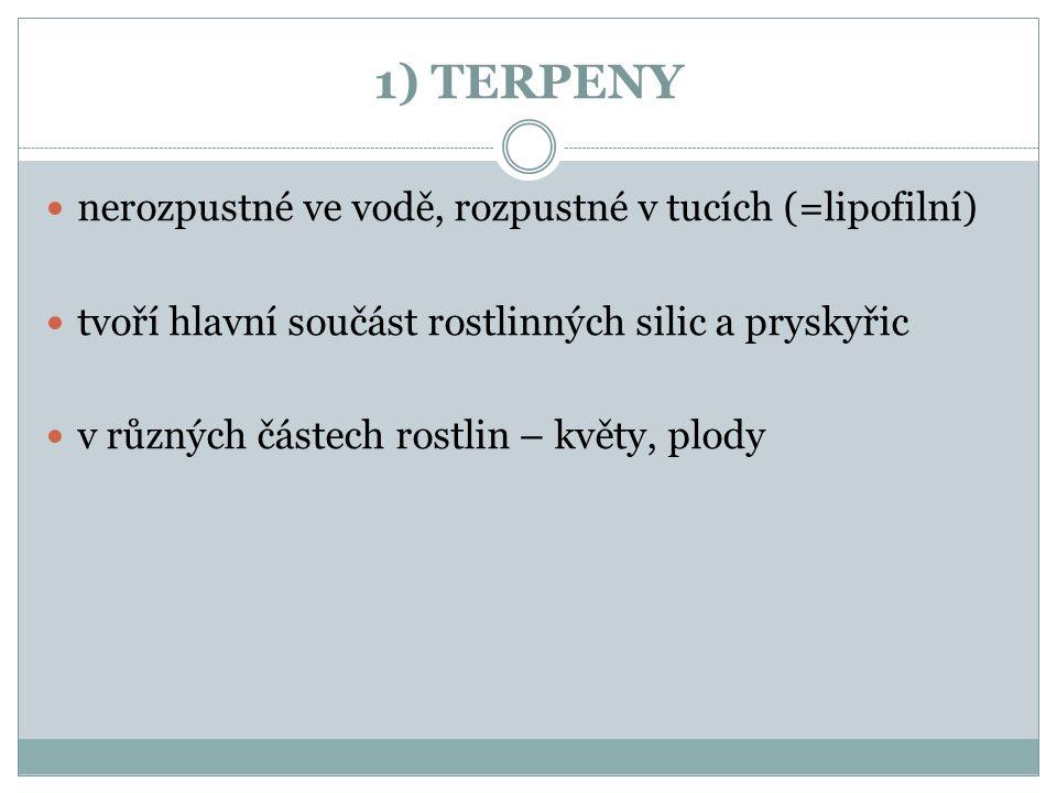 1) TERPENY nerozpustné ve vodě, rozpustné v tucích (=lipofilní)