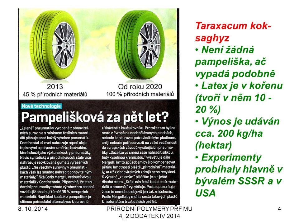 PŘÍRODNÍ POLYMERY PŘF MU 4_2 DODATEK IV 2014