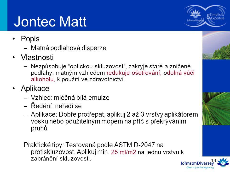 Jontec Matt Popis Vlastnosti Aplikace Matná podlahová disperze