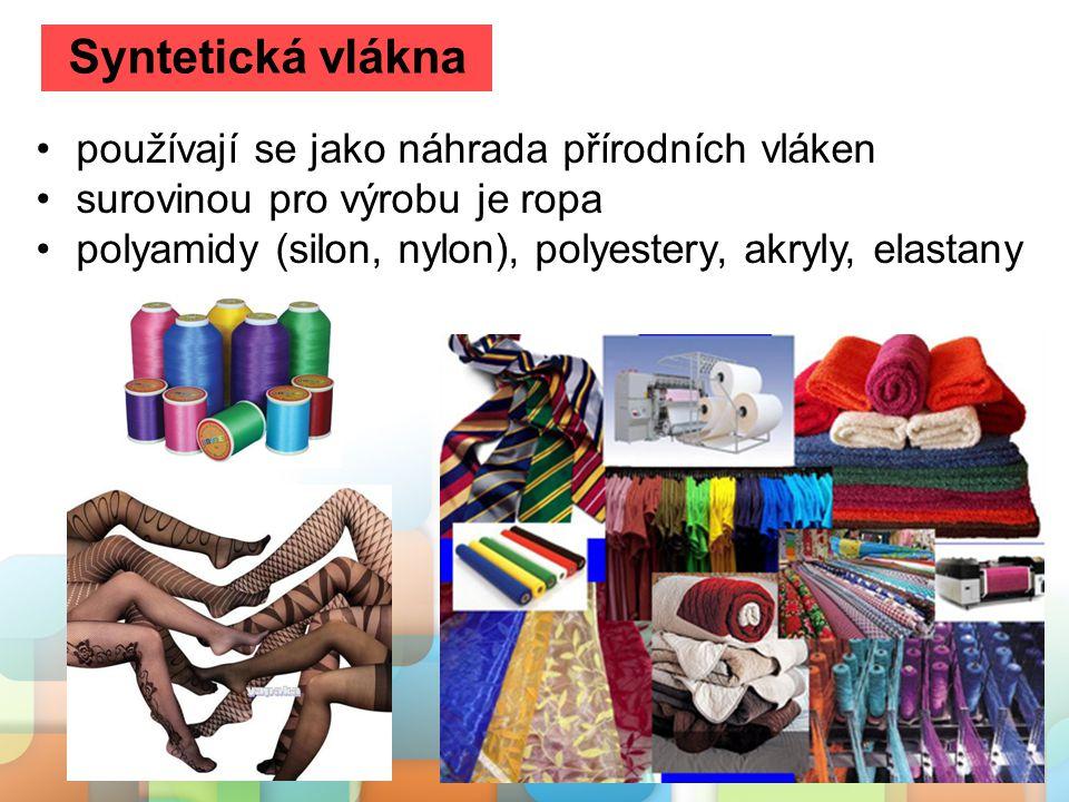 Syntetická vlákna používají se jako náhrada přírodních vláken
