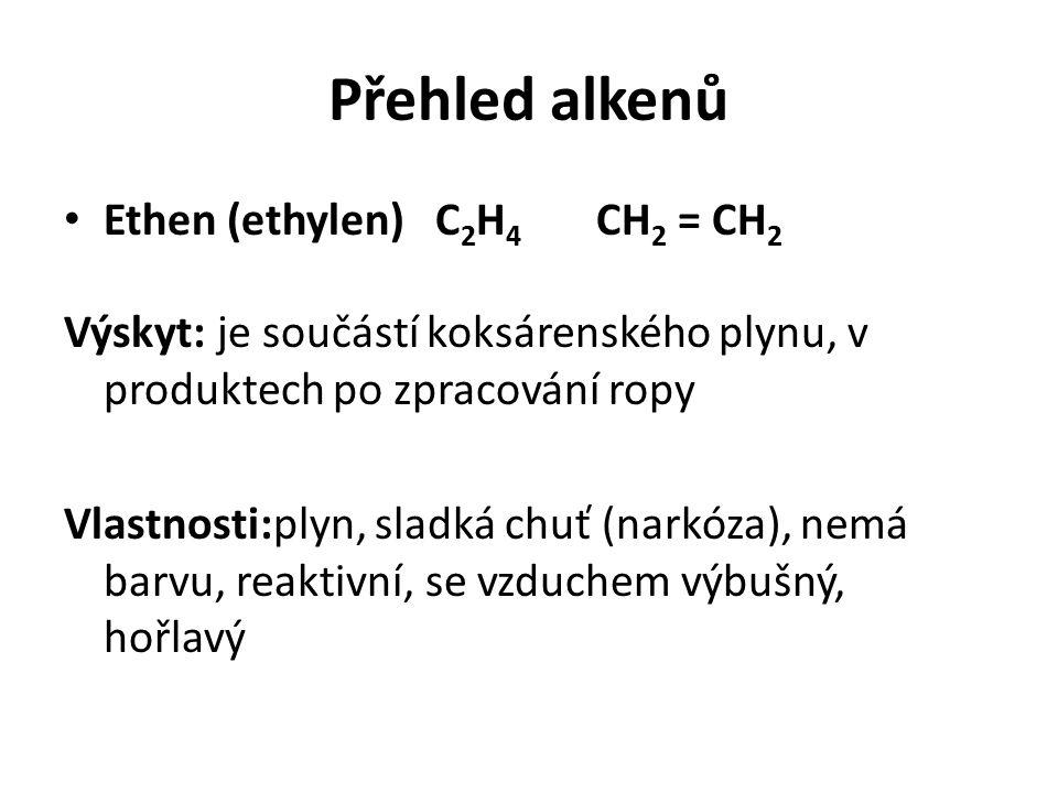 Přehled alkenů Ethen (ethylen) C2H4 CH2 = CH2