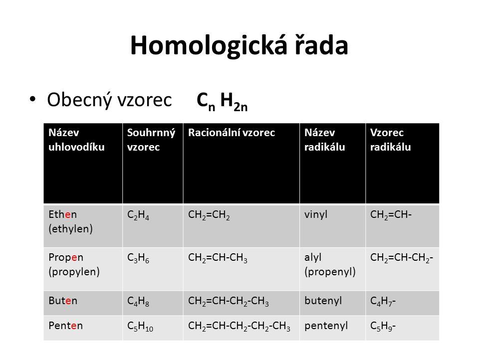 Homologická řada Obecný vzorec Cn H2n Název uhlovodíku Souhrnný vzorec