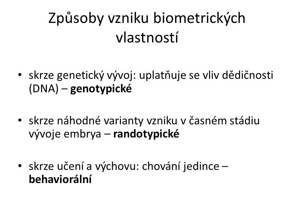 Způsoby vzniku biometrických vlastností