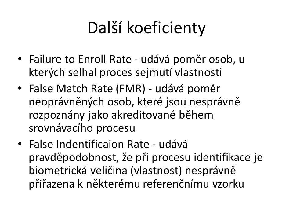 Další koeficienty Failure to Enroll Rate - udává poměr osob, u kterých selhal proces sejmutí vlastnosti.