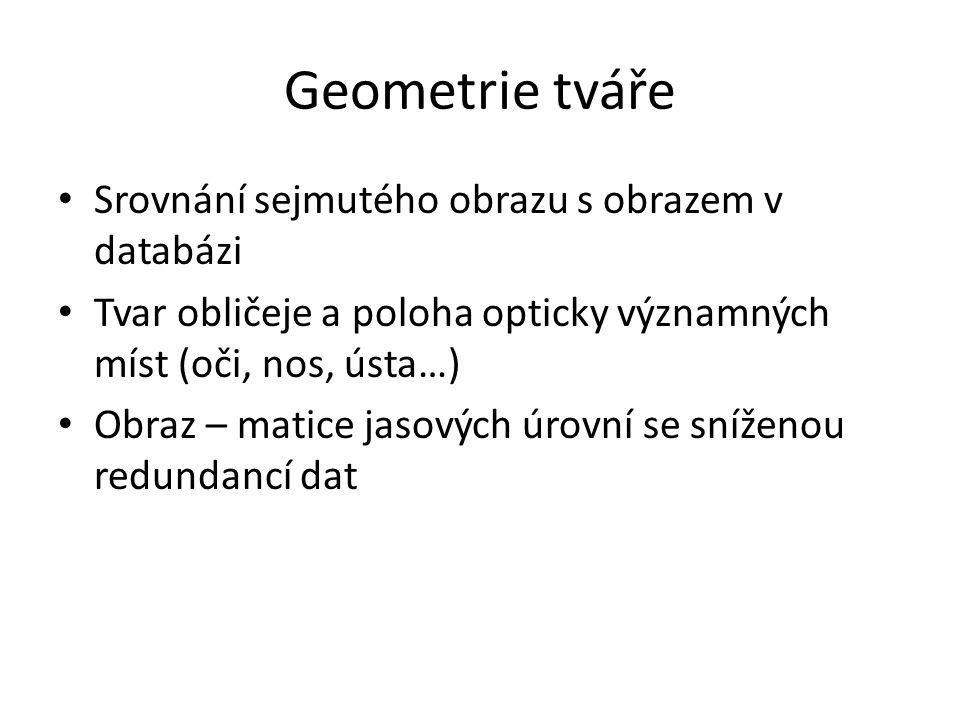 Geometrie tváře Srovnání sejmutého obrazu s obrazem v databázi