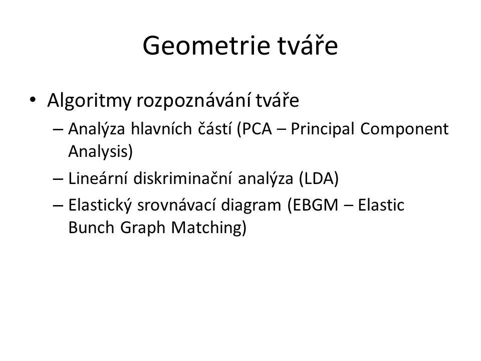 Geometrie tváře Algoritmy rozpoznávání tváře