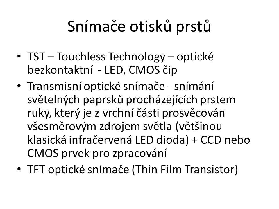 Snímače otisků prstů TST – Touchless Technology – optické bezkontaktní - LED, CMOS čip.