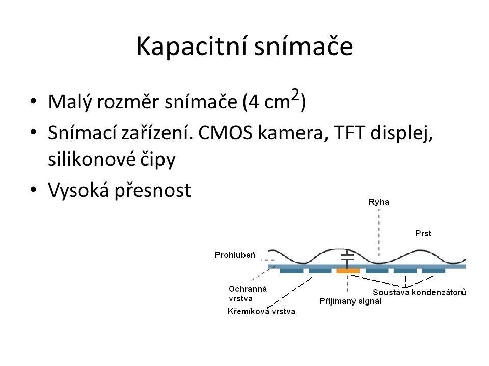 Kapacitní snímače Malý rozměr snímače (4 cm2)