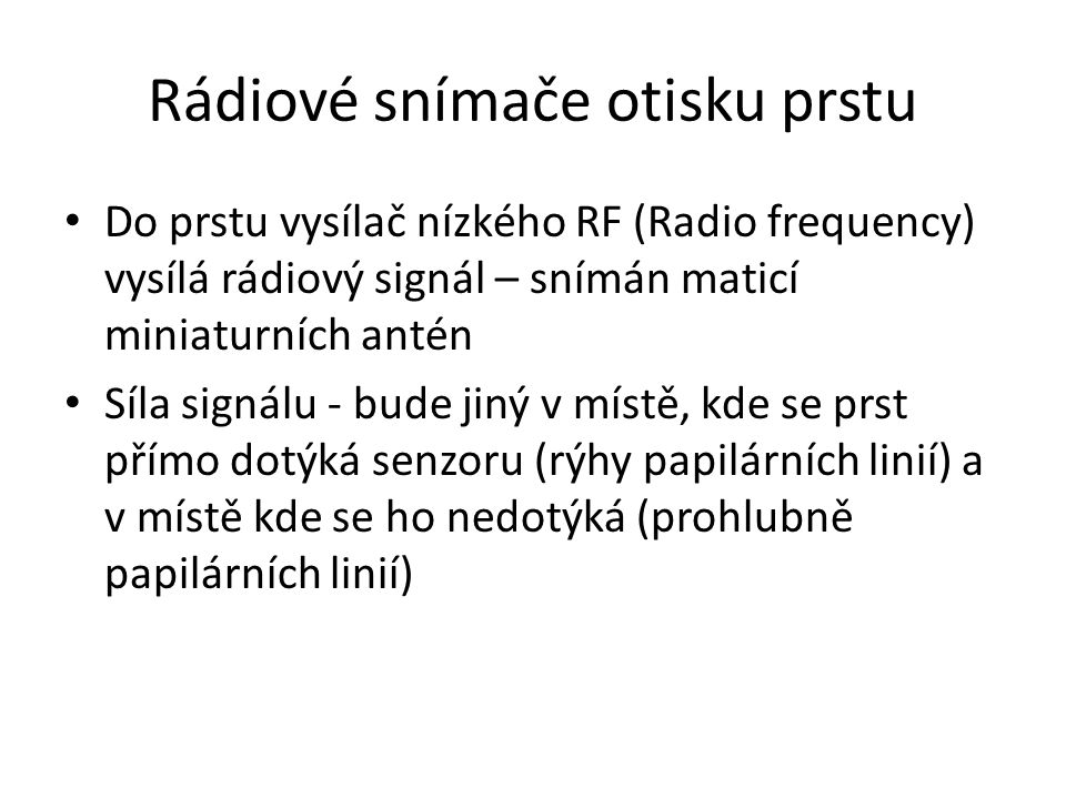 Rádiové snímače otisku prstu