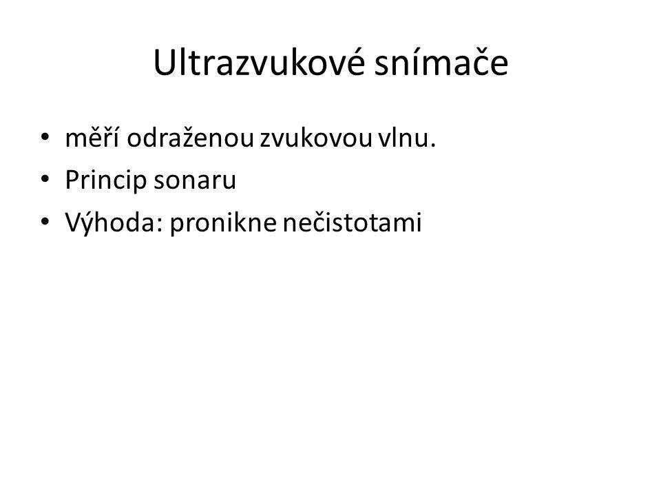 Ultrazvukové snímače měří odraženou zvukovou vlnu. Princip sonaru