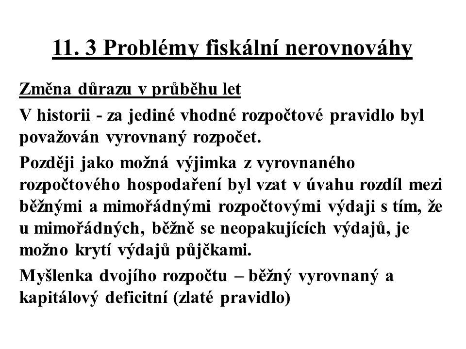 11. 3 Problémy fiskální nerovnováhy