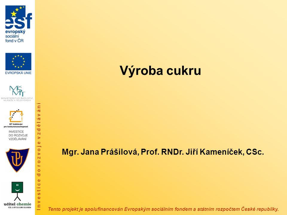 Výroba cukru Mgr. Jana Prášilová, Prof. RNDr. Jiří Kameníček, CSc.