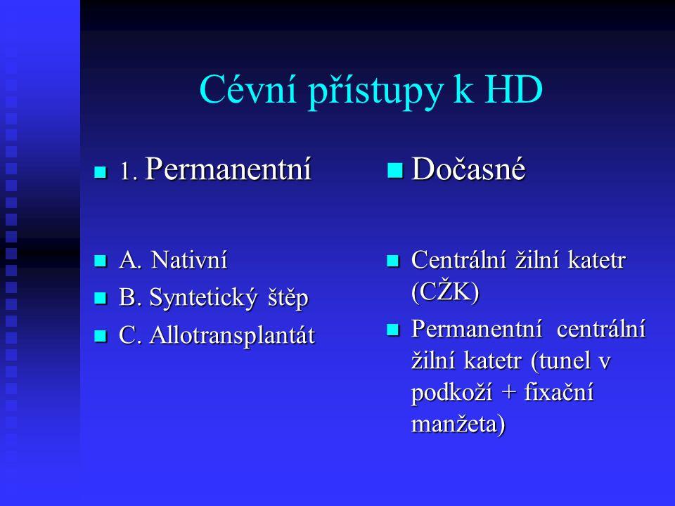 Cévní přístupy k HD Dočasné 1. Permanentní A. Nativní