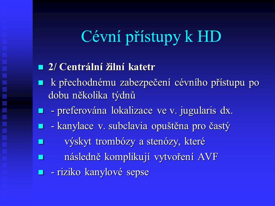 Cévní přístupy k HD 2/ Centrální žilní katetr