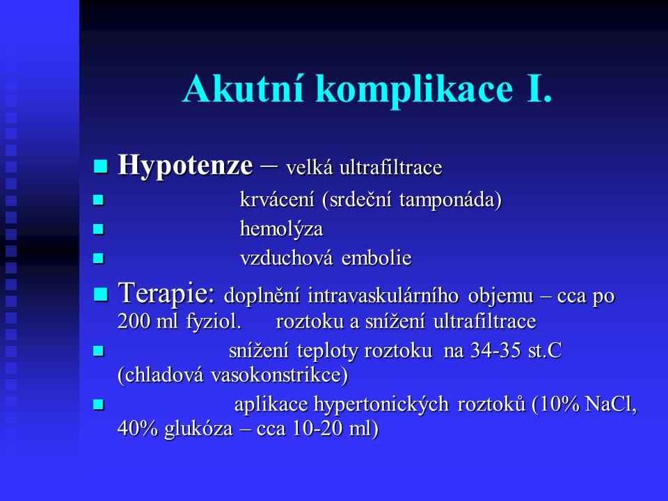 Akutní komplikace I. Hypotenze – velká ultrafiltrace