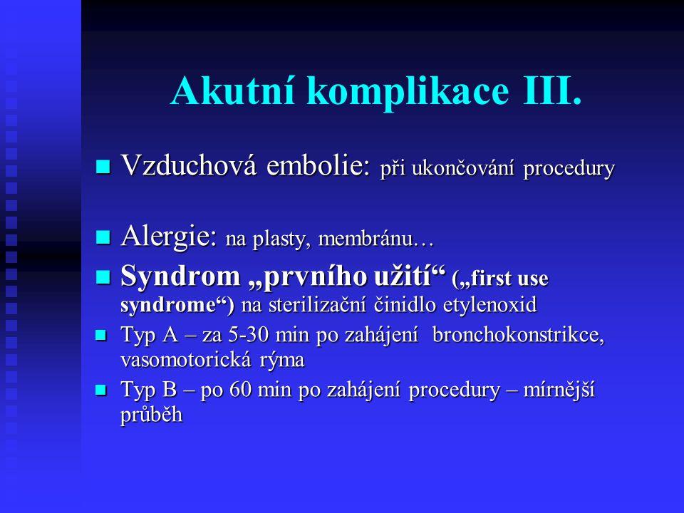 Akutní komplikace III. Vzduchová embolie: při ukončování procedury