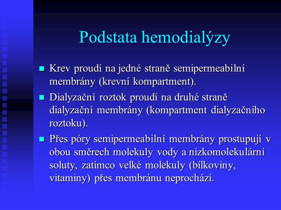 Podstata hemodialýzy Krev proudí na jedné straně semipermeabilní membrány (krevní kompartment).