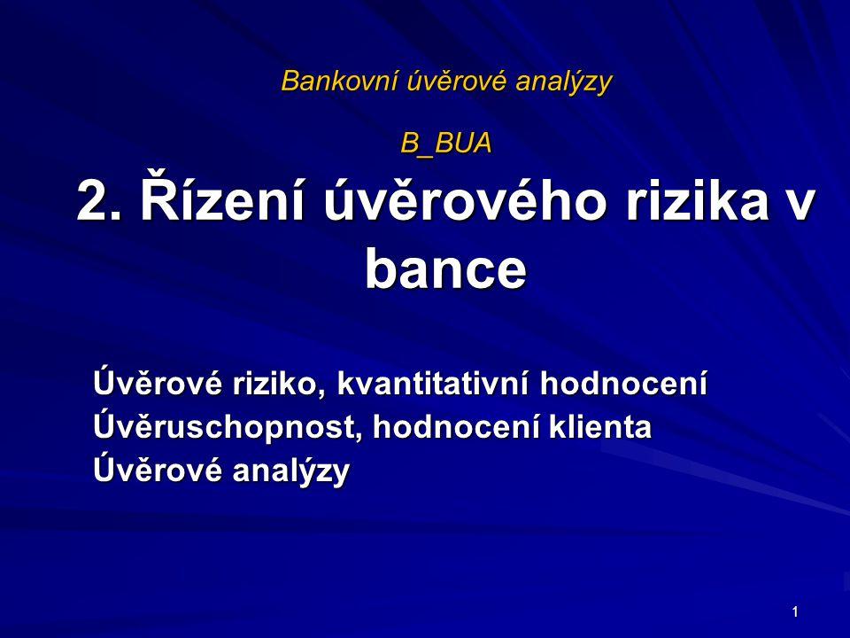 Bankovní úvěrové analýzy B_BUA 2. Řízení úvěrového rizika v bance