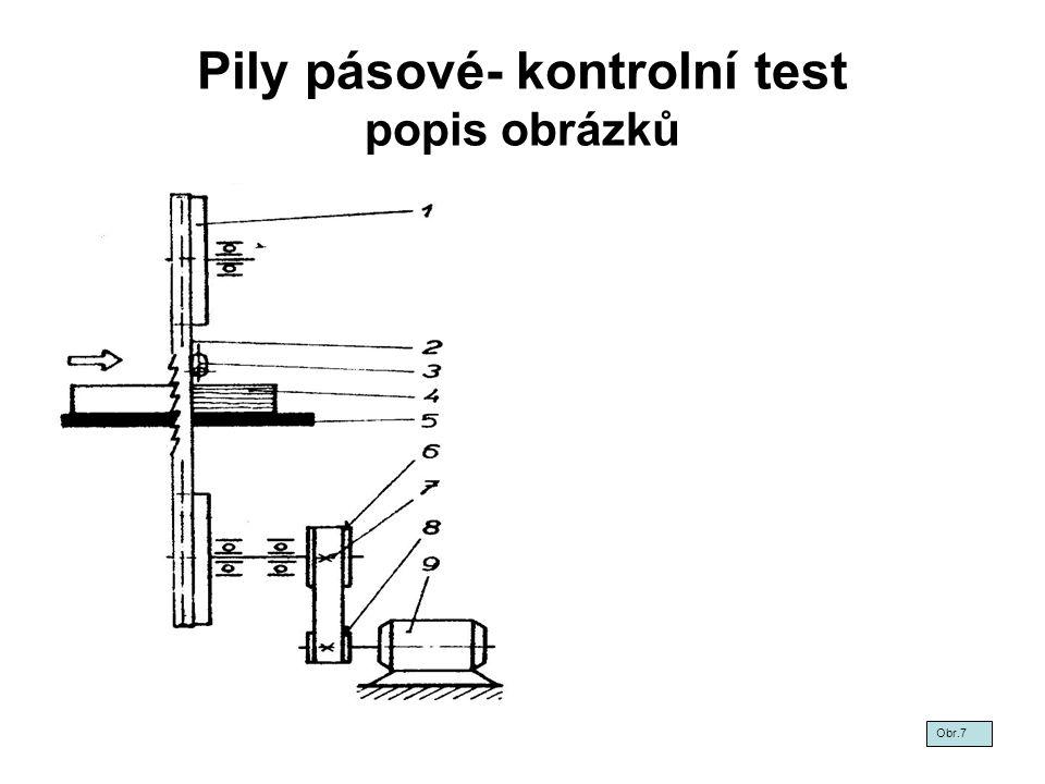 Pily pásové- kontrolní test popis obrázků