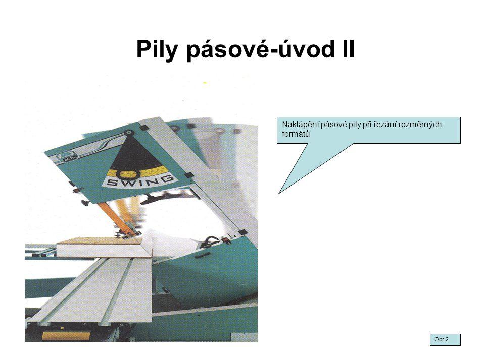 Pily pásové-úvod II Naklápění pásové pily při řezání rozměrných formátů Obr.2