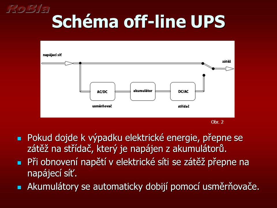 Schéma off-line UPS Obr. 2. Pokud dojde k výpadku elektrické energie, přepne se zátěž na střídač, který je napájen z akumulátorů.