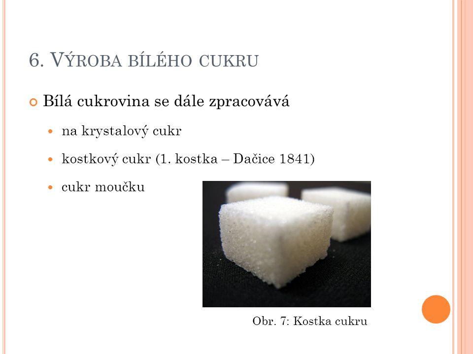 6. Výroba bílého cukru Bílá cukrovina se dále zpracovává