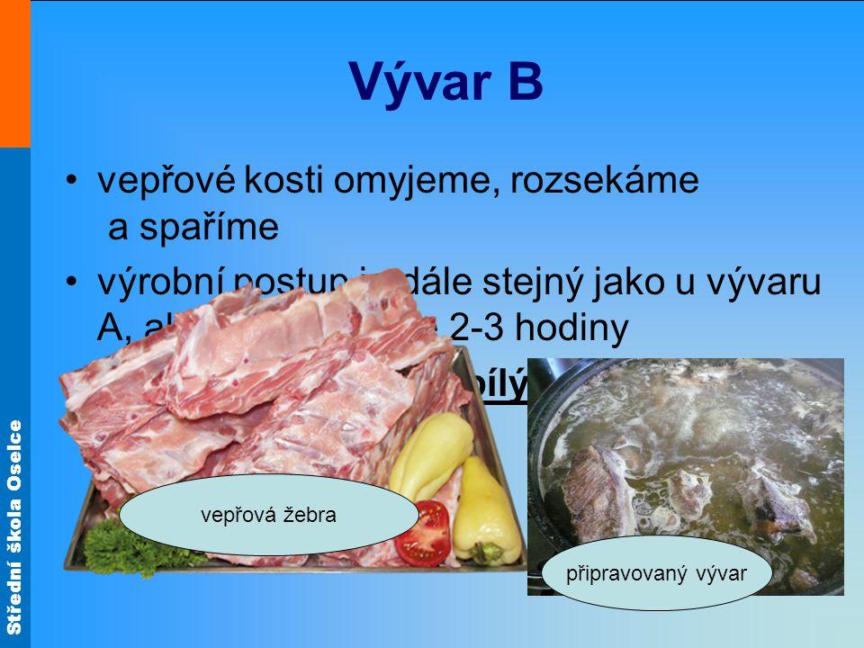 Vývar B vepřové kosti omyjeme, rozsekáme a spaříme